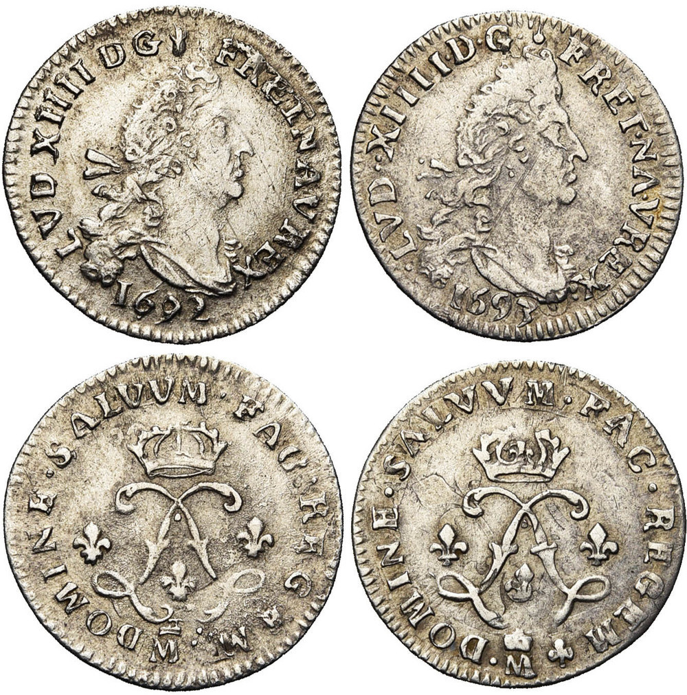 129. FRANCE, Louis XIV (1643-1715), lot. TB (VF) € 100