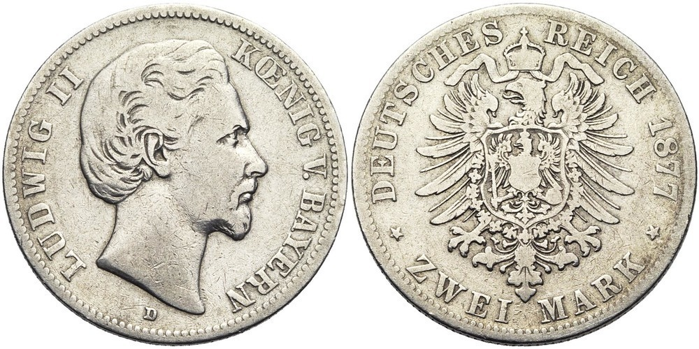 862. ALLEMAGNE, BAVIERE, Ludwig II (1864-1886). B (F) € 25