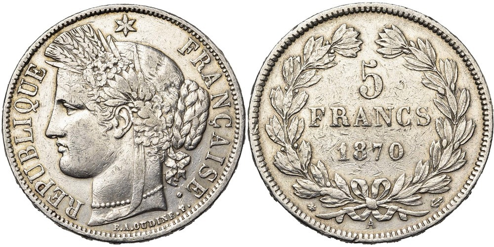 1070. FRANCE, Gouvernement de Défense Nationale (1870-1871). B à TB (F - VF) € 30