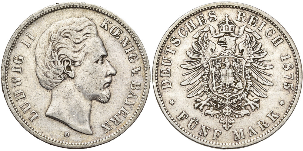 1165. ALLEMAGNE, BAVIERE, Ludwig II (1864-1886). pr. TB (a. VF) € 40
